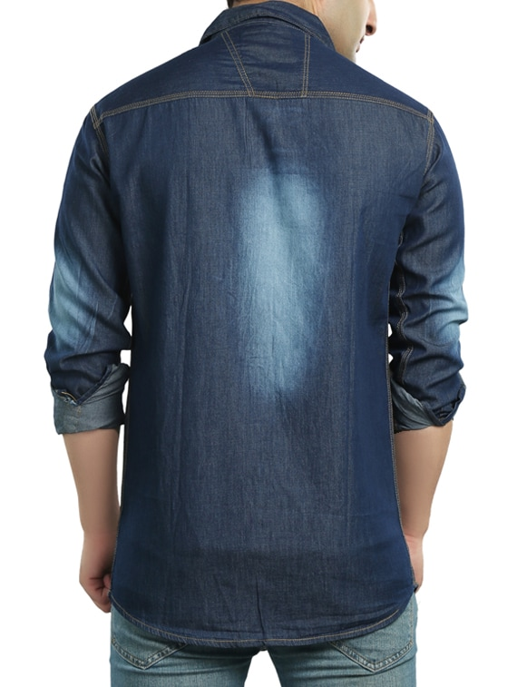 c586862ef3 Buy Dark Blue Denim Casual Shirt for Men from Copper Line for ₹640 at 68%  off