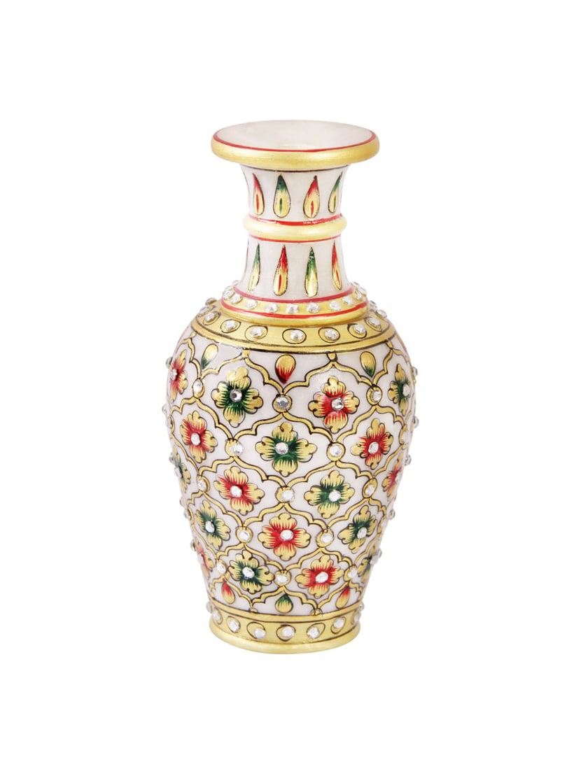 259 & Marble flower vase with emboss painted mehrab design by Handicrafts Paradise