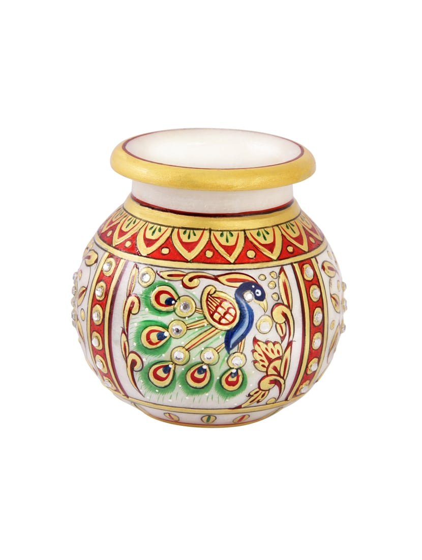 Buy Flower Pot In Round Shape With Peacock Painted In Marble By