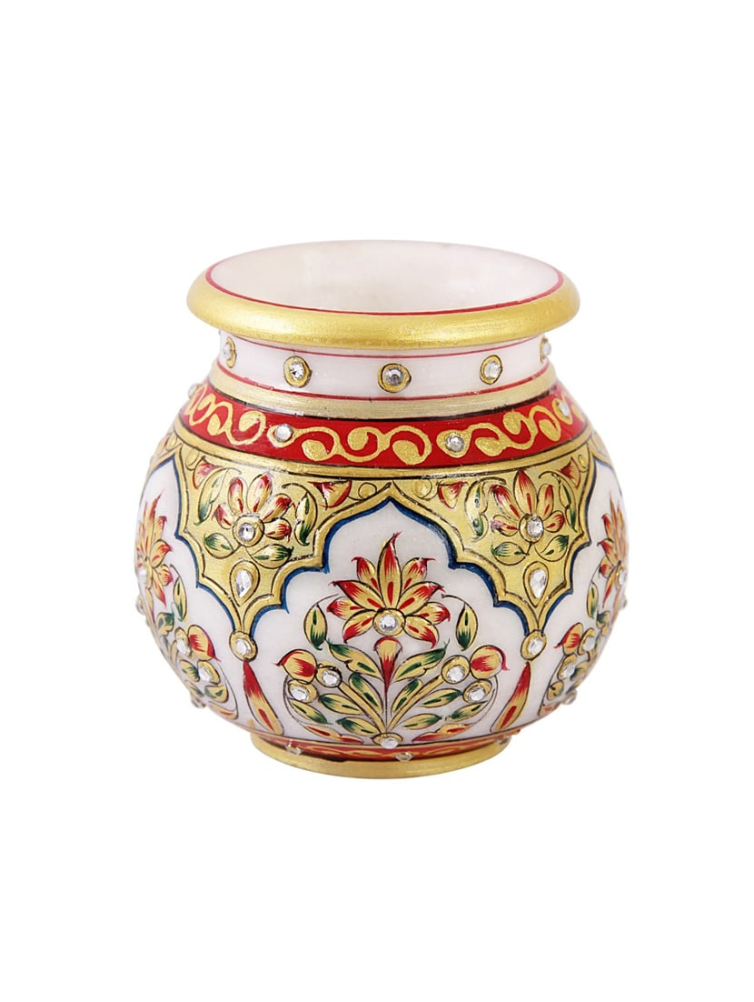 Buy Round Marble Lota Shaped Pot With Golden Finish Painting By