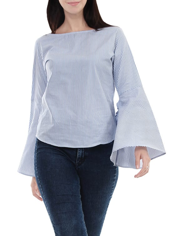 knotted bell sleeve striped top