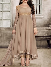 beige georgette semi-stitched anarkali suit -  online shopping for Semi-Stitched Suits