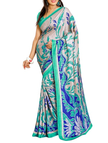 multi colored art silk printed saree with blouse - 14125290 - Standard Image - 1