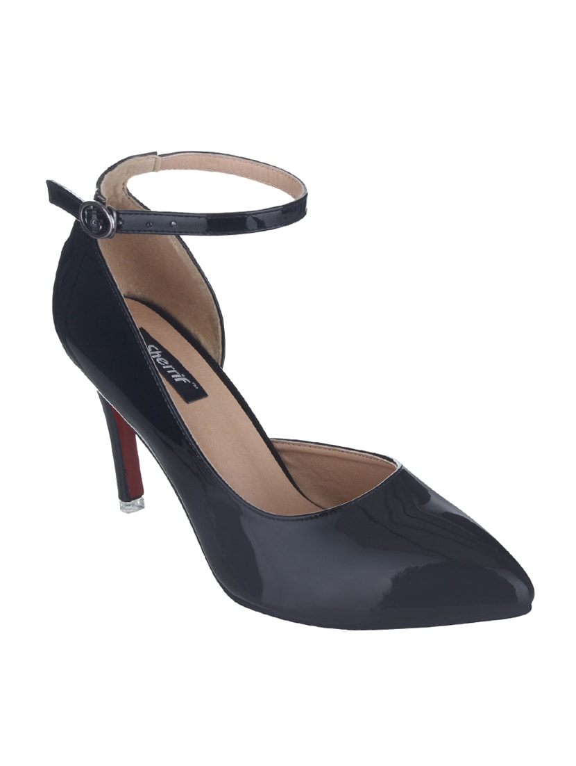 db2f5068921 Buy Black Faux Leather Ankle Strap Sandals by Sherrif Shoes - Online  shopping for Sandals in India