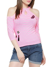 pink cotton cold shoulder top -  online shopping for Tops
