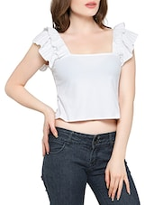 white cotton crop top -  online shopping for Tops