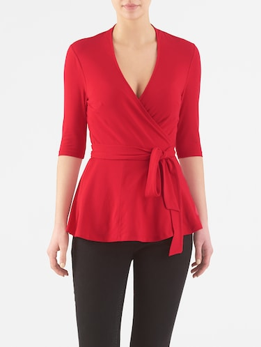 red cotton jersey top - 14132645 - Standard Image - 1