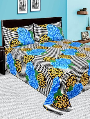 Printed Double bedsheet with 2 pillow covers -  online shopping for bed sheet sets
