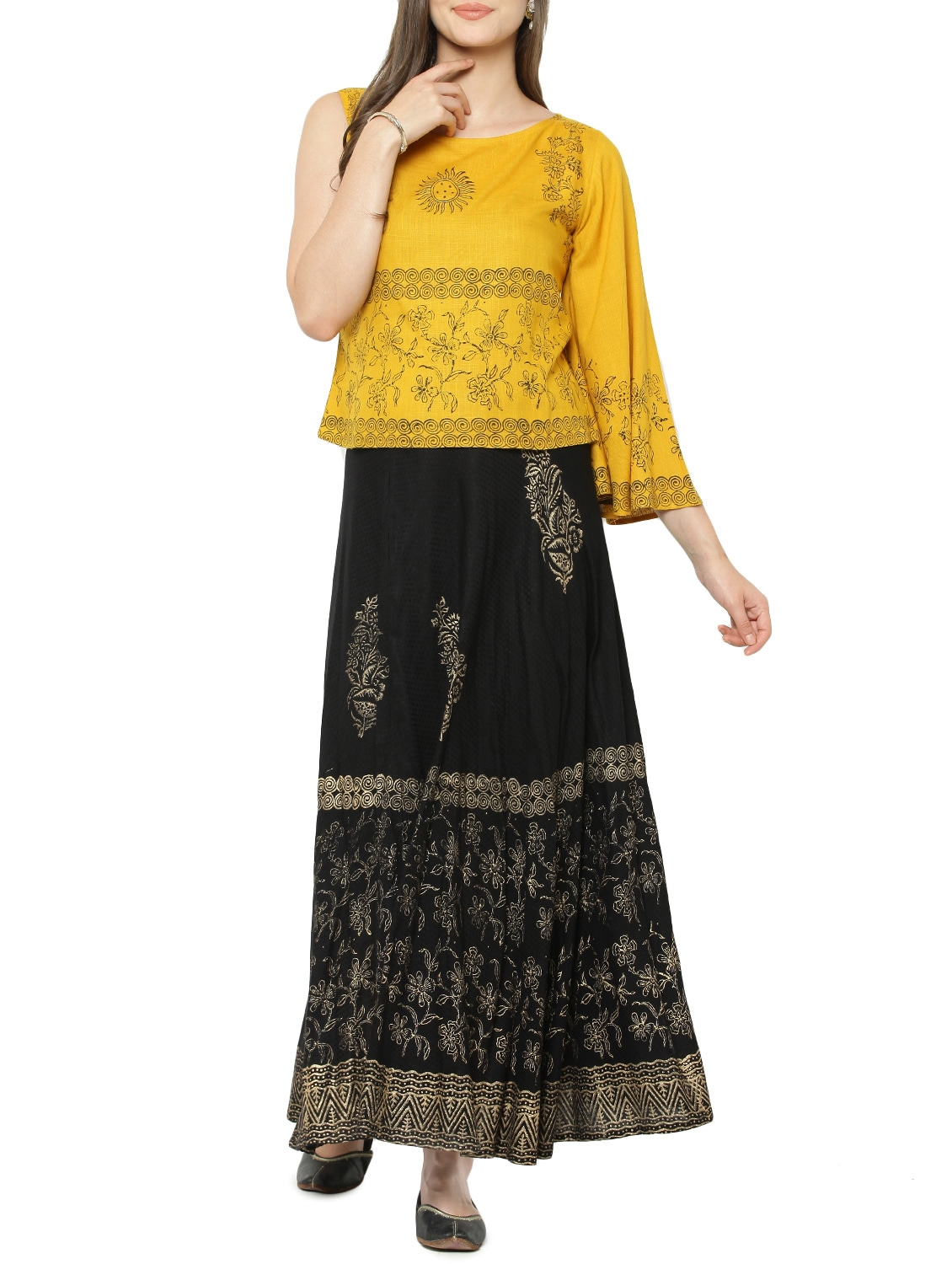 48a2d7c0228f2e Buy Printed Single Sleeved Top With Skirt Set for Women from Dimpy for ₹887  at 56% off