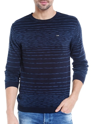 blue cotton pullover -  online shopping for Pullovers