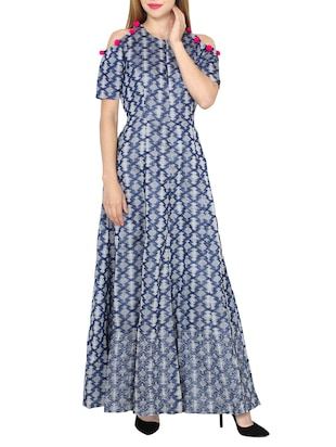 blue printed maxi dress -  online shopping for Dresses