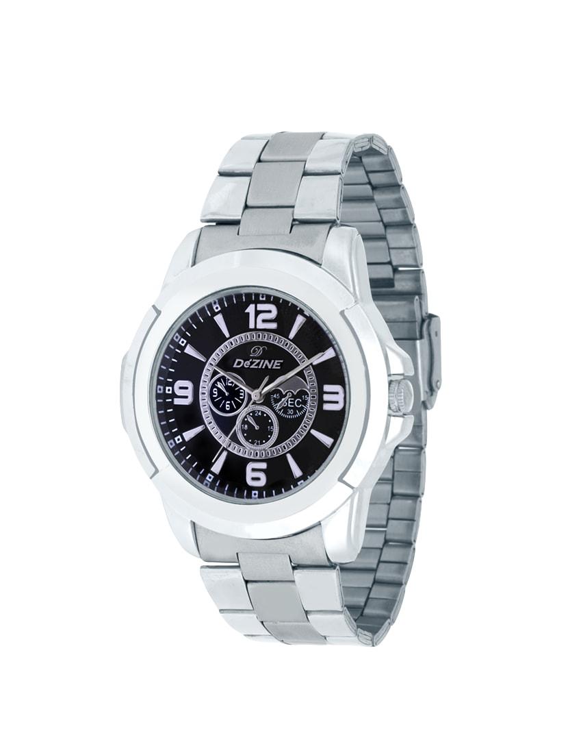 dezine silver analog watch for men