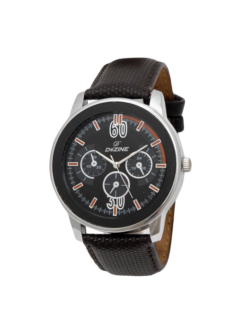 dezine leather strap analog watch for men
