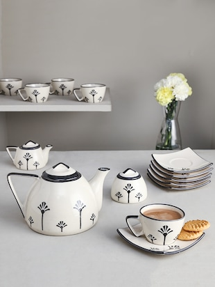 Ceramic Black & Off white Tea Set of 15 items -  online shopping for Coffee & Tea Sets
