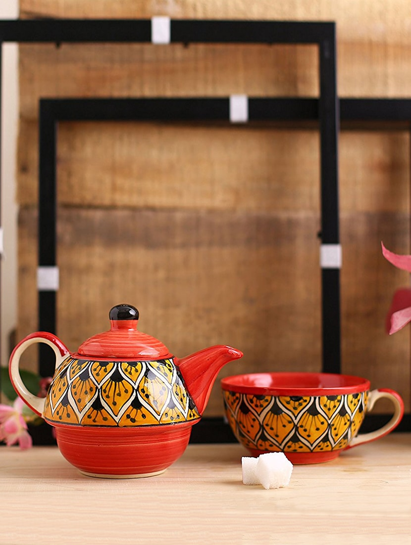 8b8f7a818dd Buy 2 In 1 Teapot Ceramic stoneware In Orange Morocco (kettle And Cup) (1  Pc) Handmade By Caffeine for Unisex from Caffeine Stoneware for ₹1147 at  10% off ...