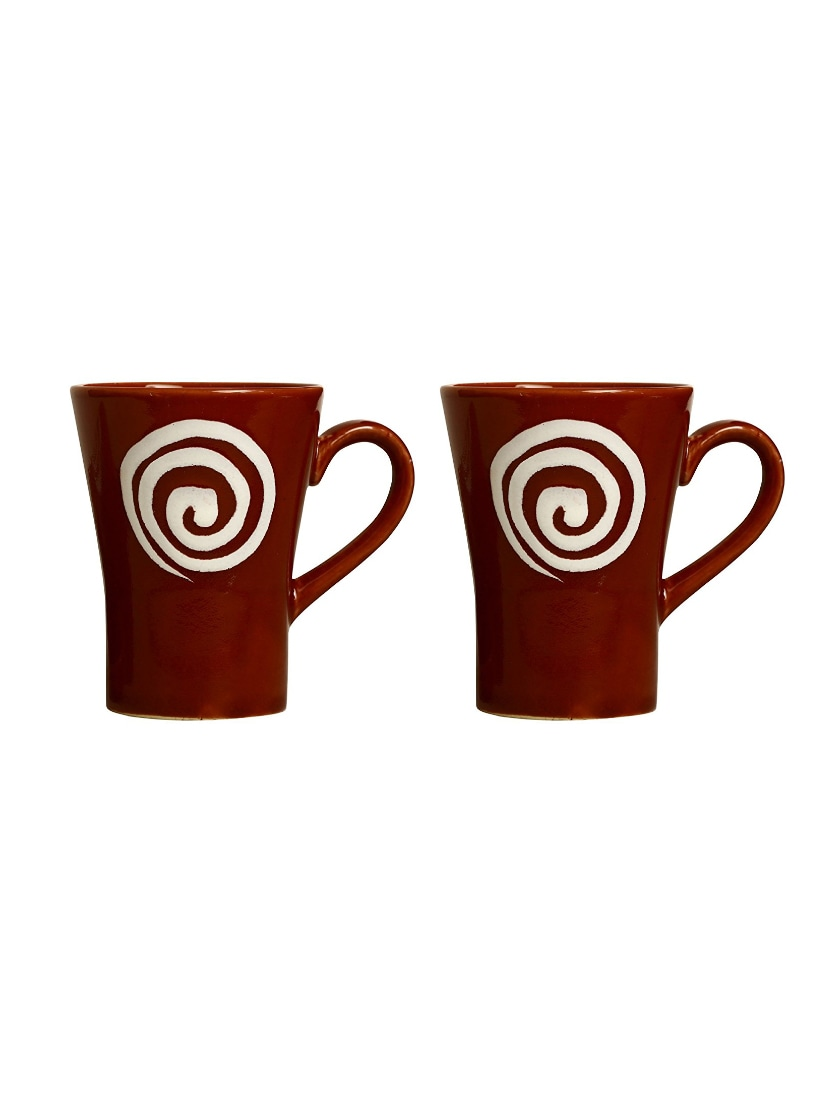 ae1e7af646 Buy Coffee Mug Ceramic/stoneware In Brown & White Doodle Platform (set Of 2)  Handmade By Caffeine for Unisex from Caffeine Stoneware for ₹866 at 4% off  ...