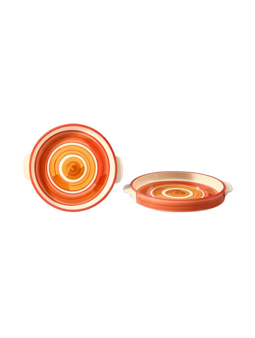 Sizzler Tray 8 Inch Ceramic/Stoneware in Orange Illusion Handmade By  Caffeine-Set of 2
