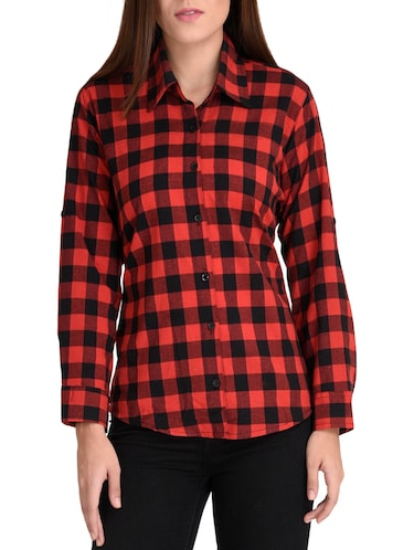 red cotton straight shirt - 14167940 - Standard Image - 1