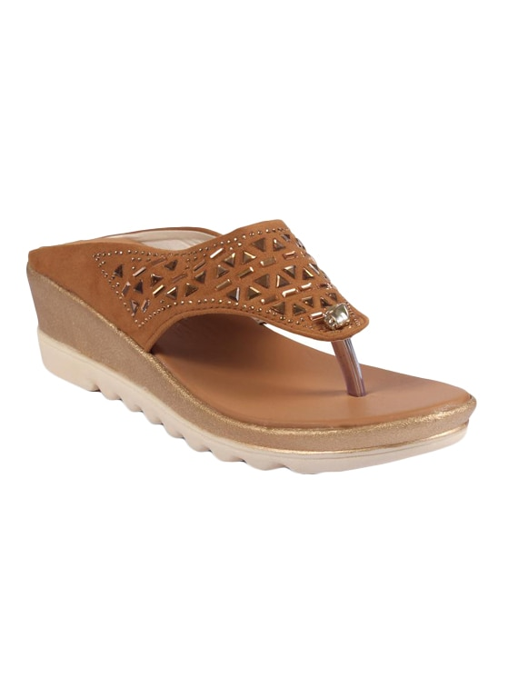 anand archies artificial leather tan wedges for girl's   women's  aa 363 p