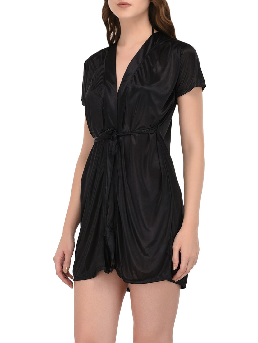56a04fbe2e Buy Black Satin Sleepwear Robe by You Forever - Online shopping for  Sleepwear Robe in India