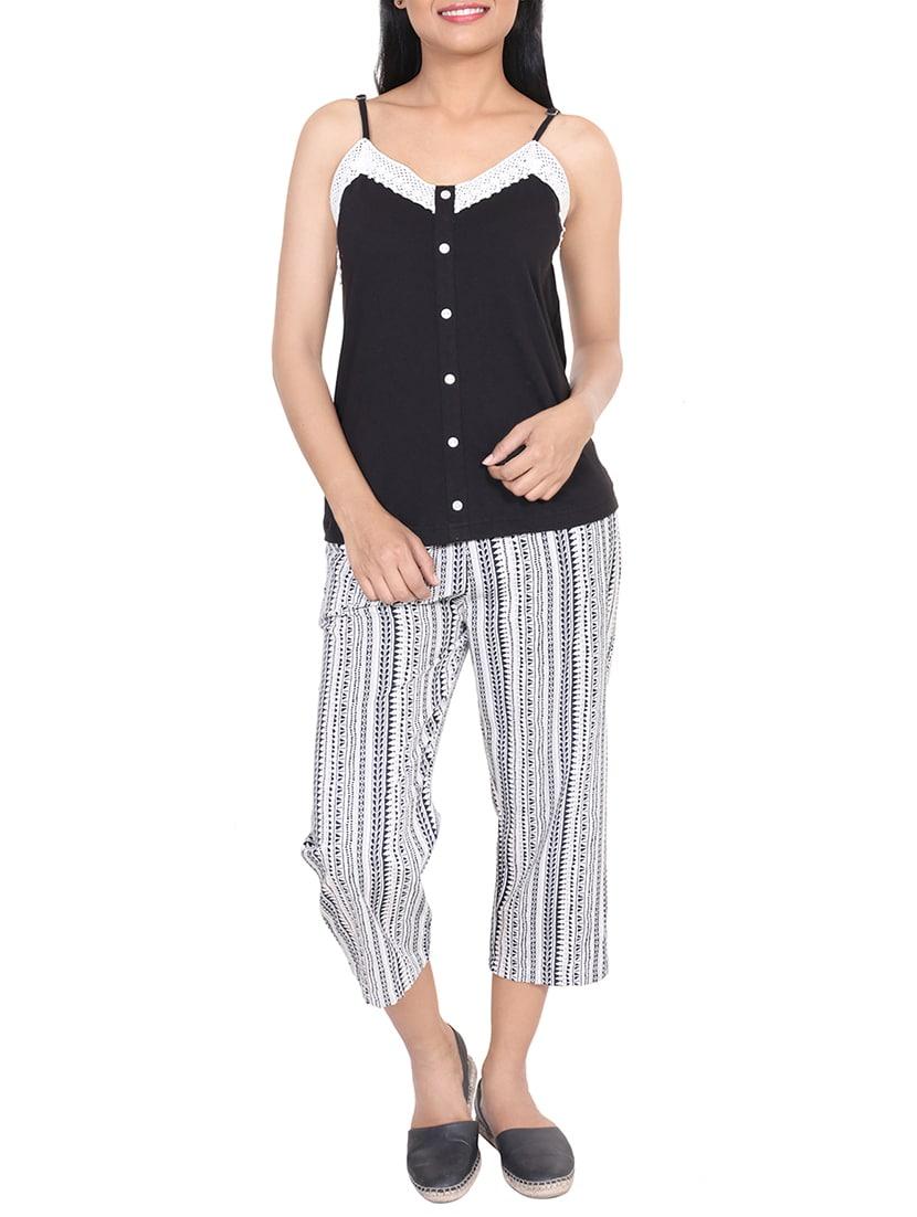 Buy Black Printed Cotton Nightwear Set by 9teenagain - Online shopping for  Nightwear Sets in India  c591709d5