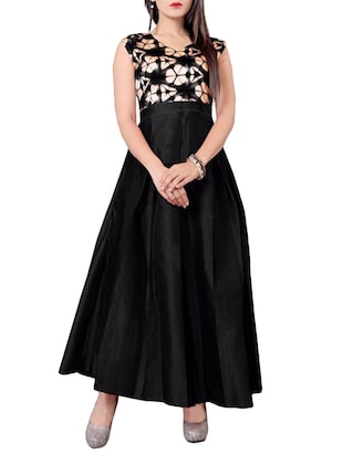 black silk blend gown -  online shopping for gowns
