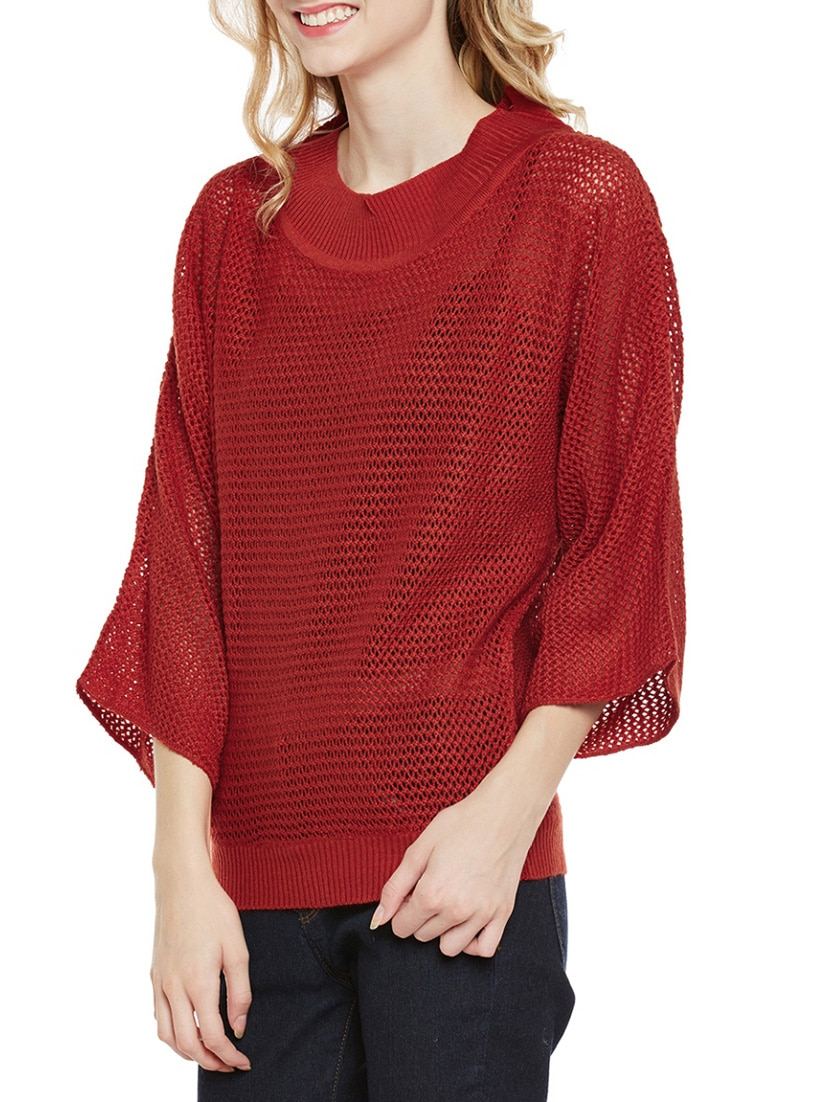 8f2a76b617 Buy Maroon Woolen Casual Poncho for Women from Cayman for ₹800 at 65% off