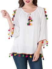 solid white rayon top -  online shopping for Tops