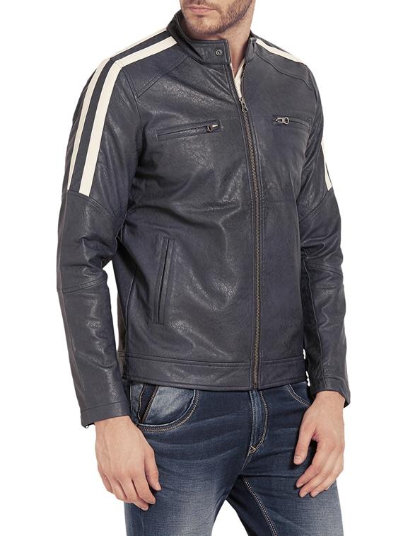 b128afdf6786 Buy Blue Leather Biker Jacket for Men from Spykar for ₹3917 at 44 ...