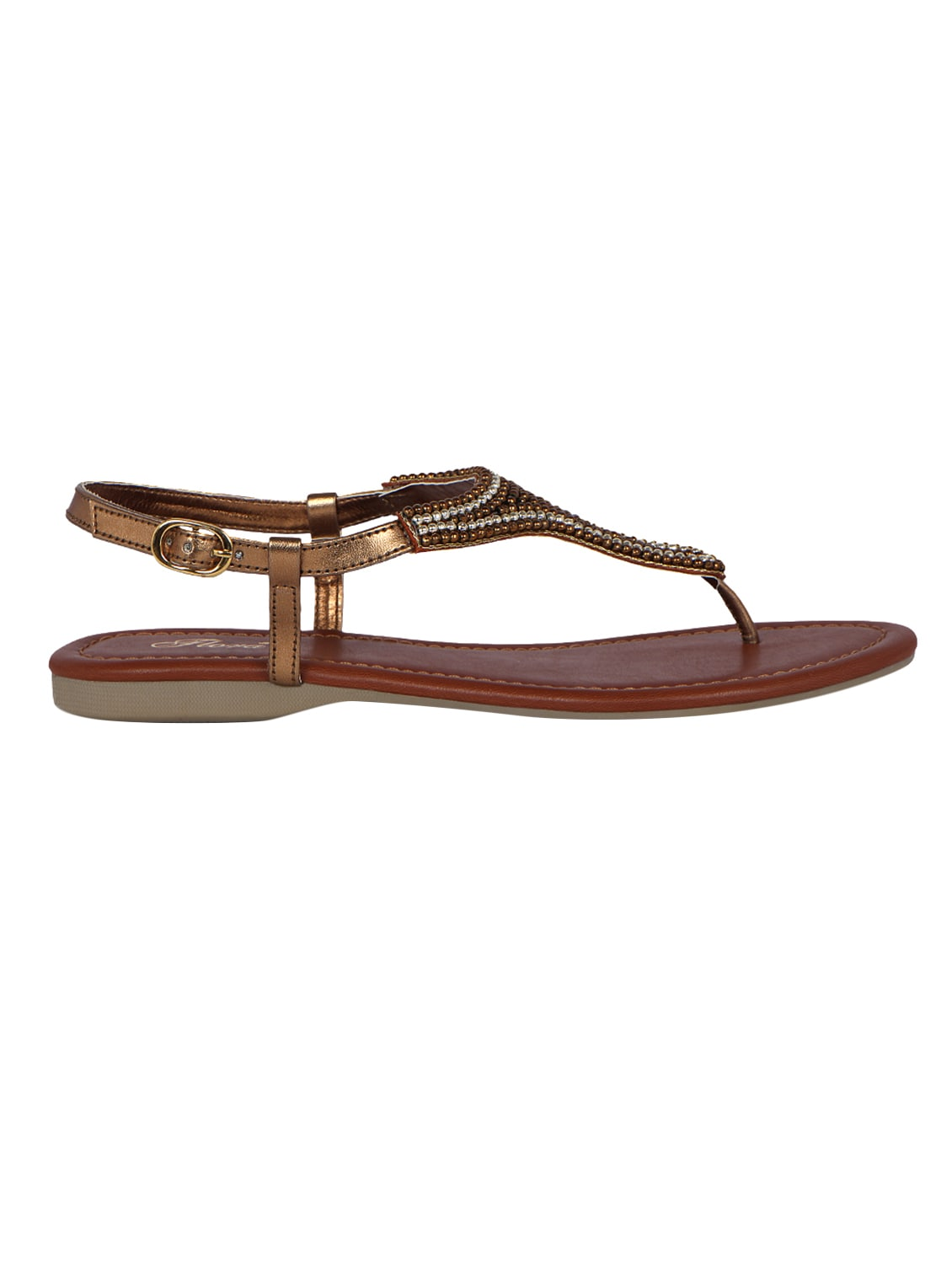519de08a5 Buy Bronze Faux Leather Back Strap Sandals for Women from Flora for ₹1166  at 27% off