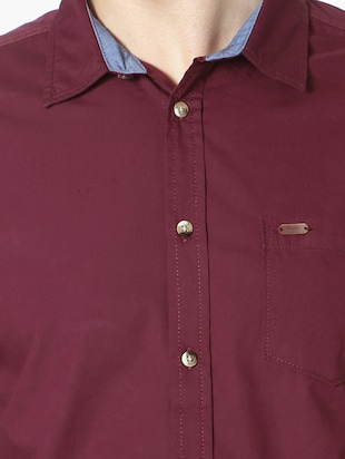 red cotton casual shirt - 14188754 - Standard Image - 4