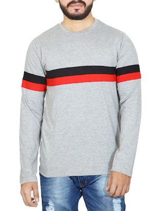 grey cotton t-shirt -  online shopping for T-Shirts
