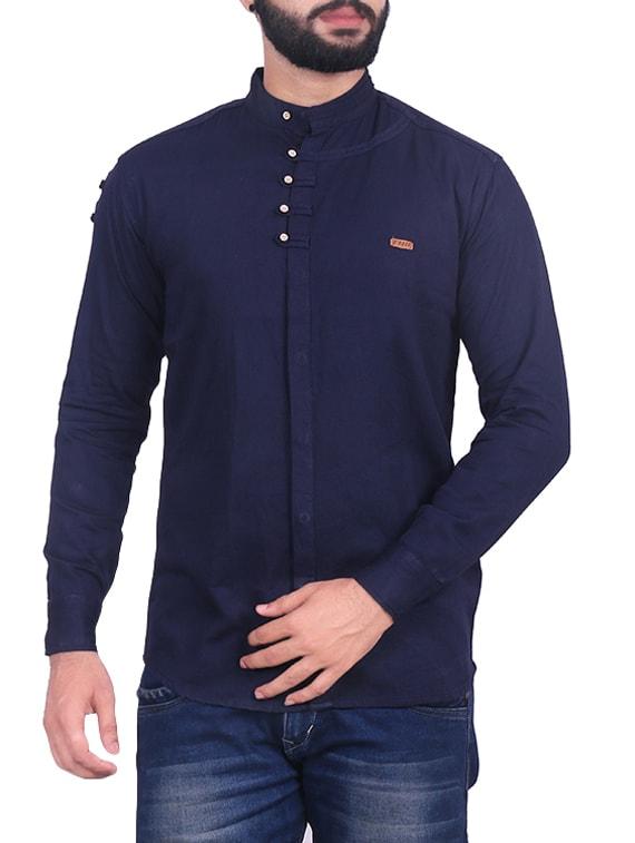 a9cf4d222 Navy Blue Cotton Casual Shirt