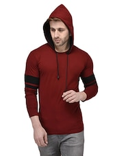 maroon cotton hodded t-shirt -  online shopping for T-Shirts