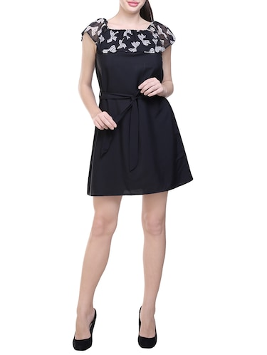 black printed poly crepe belted dress - 14231595 - Standard Image - 1