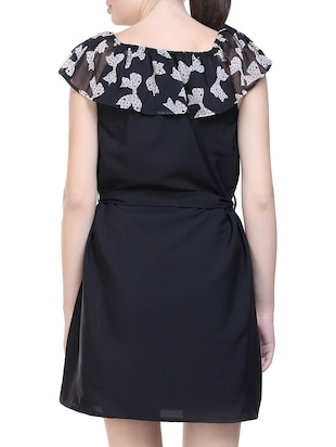 black printed poly crepe belted dress - 14231595 - Standard Image - 4