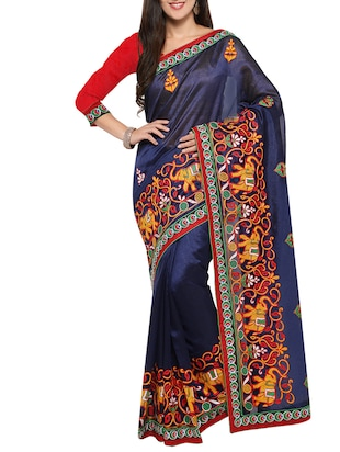 navy blue art silk embroidered saree -  online shopping for Sarees