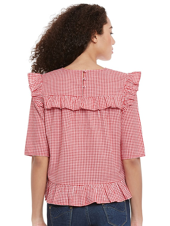 9cf000a17af488 Buy Red Gingham Checkered Cotton Ruffle Top for Women from Femella for ₹396  at 60% off | 2019 Limeroad.com