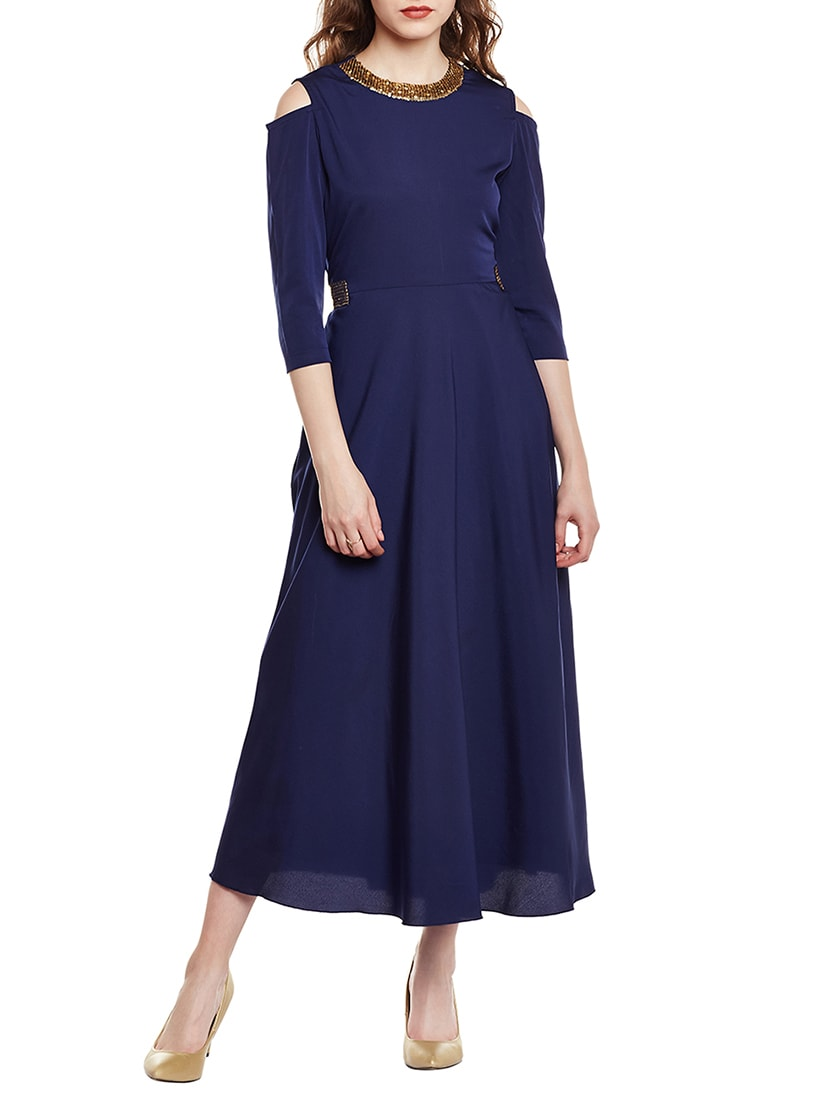 372d75158b0 Buy Solid Navy Blue Gown Dress for Women from Meee! for ₹1823 at 27% off