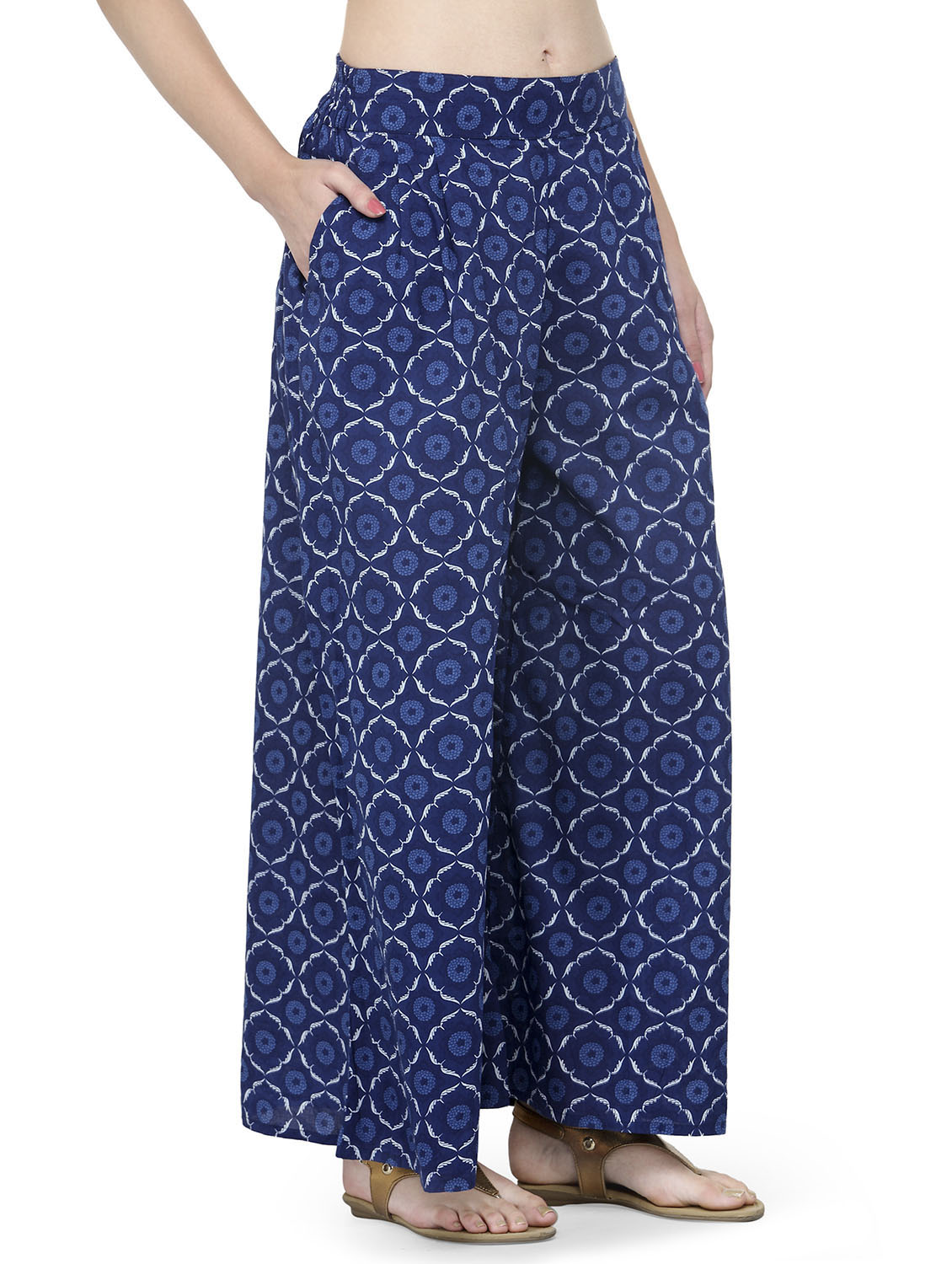 eab7196b1d Buy Blue Printed Cotton Palazzo for Women from Natty India for ₹1225 at 51%  off | 2019 Limeroad.com