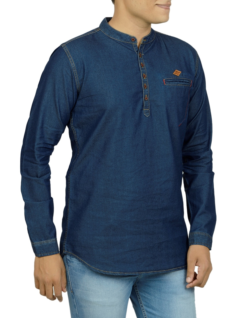 f7a293d863 Buy Dark Blue Denim Short Kurta for Men from Kuons Avenue for ₹1234 at 41%  off