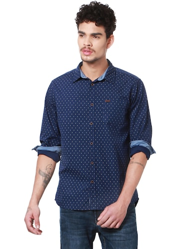 navy blue cotton casual shirt - 14238037 - Standard Image - 1