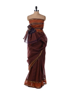 Rust Cotton Saree With Purple Stripes - Platinum Sarees
