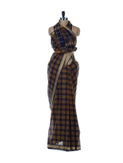 Blue And Brown Cotton Saree - Platinum Sarees