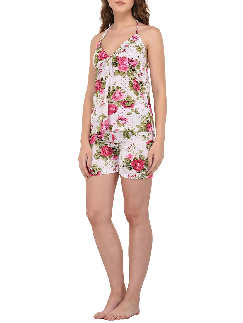 82cb5e4bf1 Buy Multicolored Floral Printed Satin Shorts Set by You Forever - Online  shopping for Nightwear Sets in India