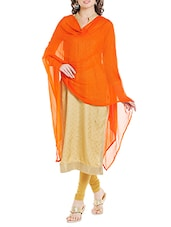 Orange Poly Chiffon Plain Dupatta - By