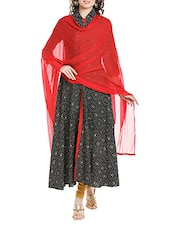 Red Poly Chiffon Plain Dupatta - By