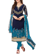 blue art silk printed un-stitched dress material -  online shopping for Dress Material