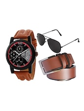 brown strap watch with aviator and belt -  online shopping for Men Watch Combos