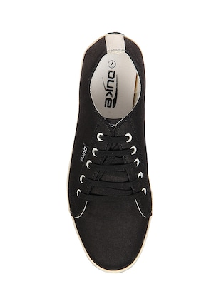 black Canvas lace up sneaker - 14292625 - Standard Image - 4